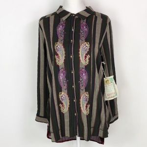 NWT Aratta Silent Journey Embroidered Button Down